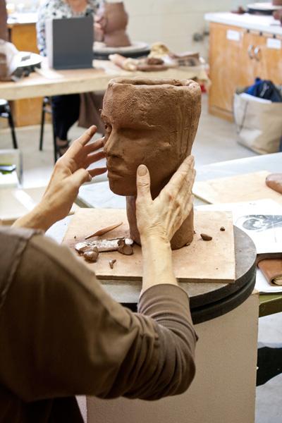 Debra Fritts sculpting the head