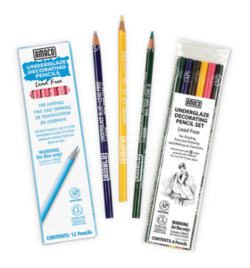 Underglaze Pencil Set Black Blue Brown Rose Yellow